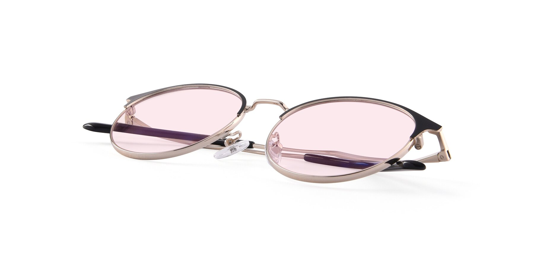 View of Berkley in Black-Gold with Light Pink Tinted Lenses