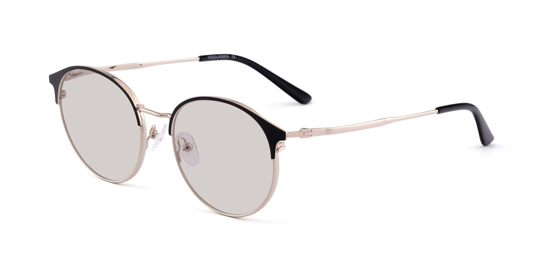Angle of Berkley in Black-Gold with Light Brown Tinted Lenses