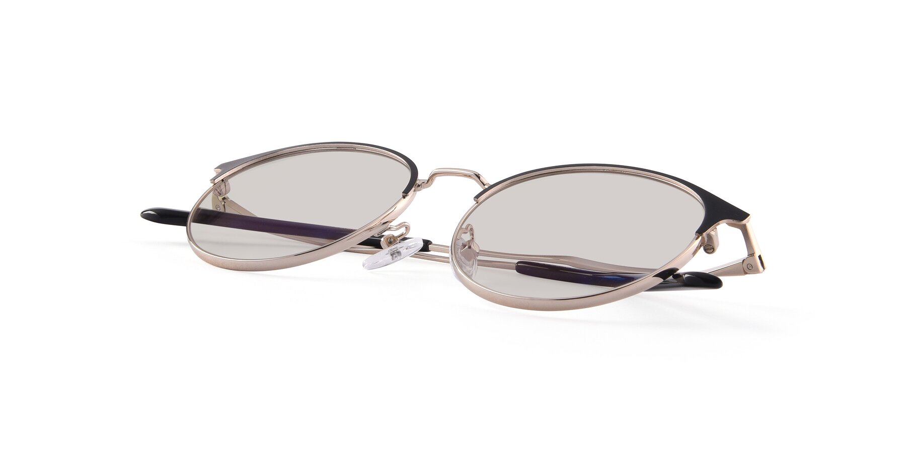 View of Berkley in Black-Gold with Light Brown Tinted Lenses