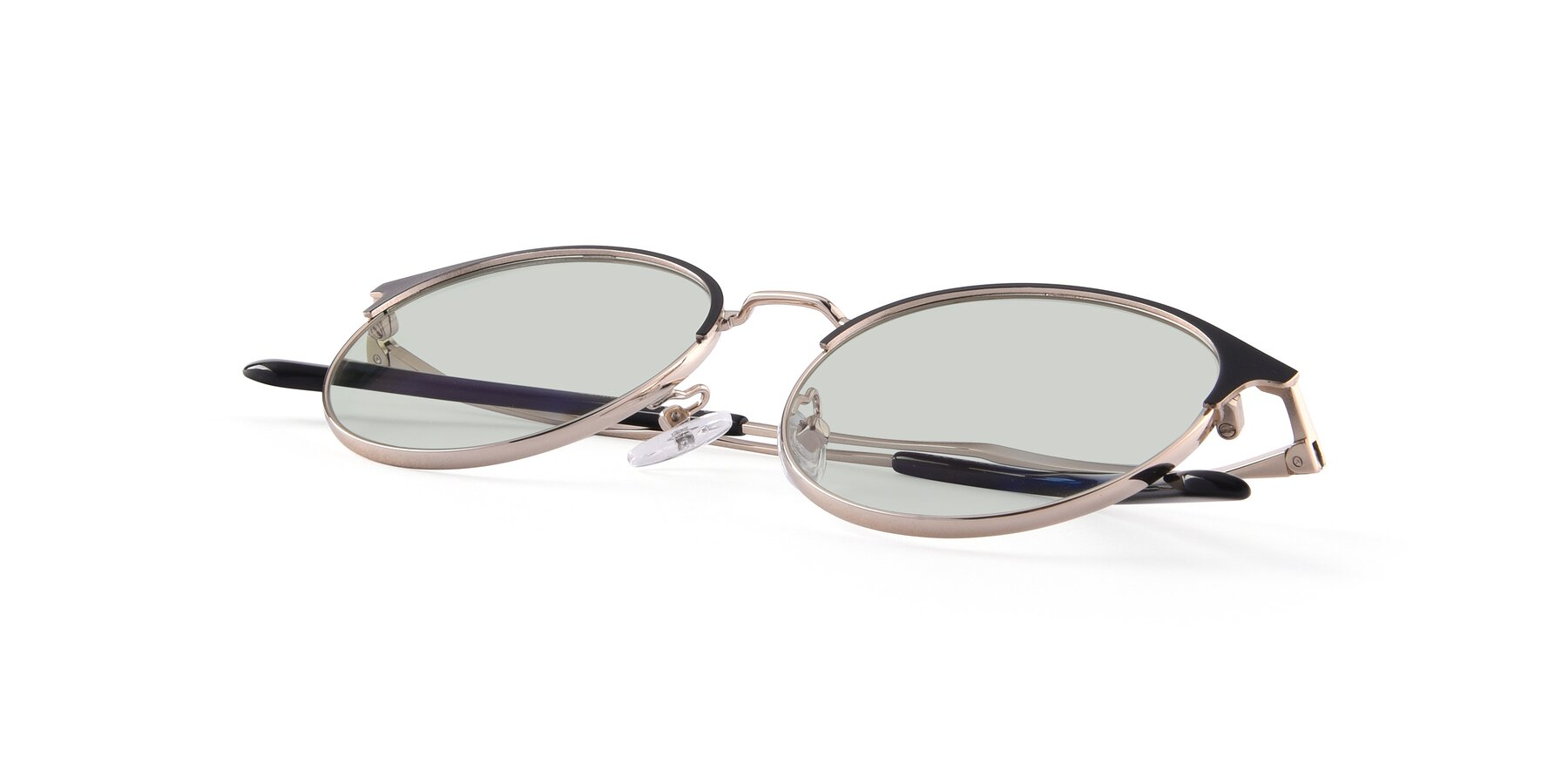 View of Berkley in Black-Gold with Light Green Tinted Lenses