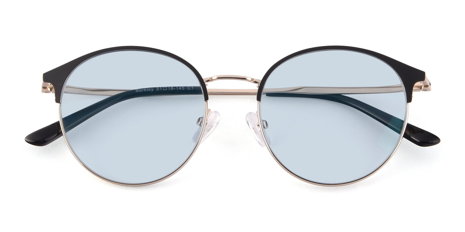 Folded Front of Berkley in Black-Gold with Light Blue Tinted Lenses