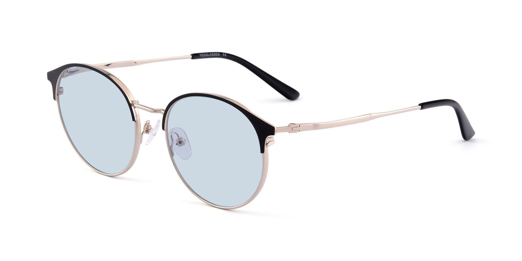 Angle of Berkley in Black-Gold with Light Blue Tinted Lenses