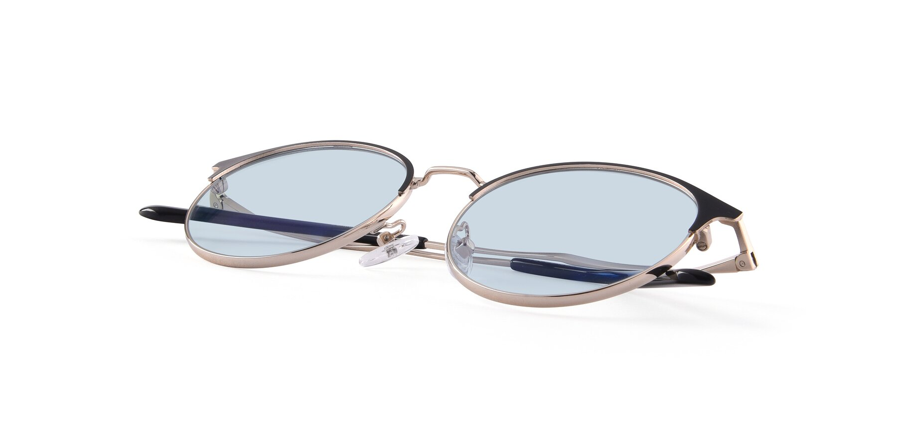 View of Berkley in Black-Gold with Light Blue Tinted Lenses