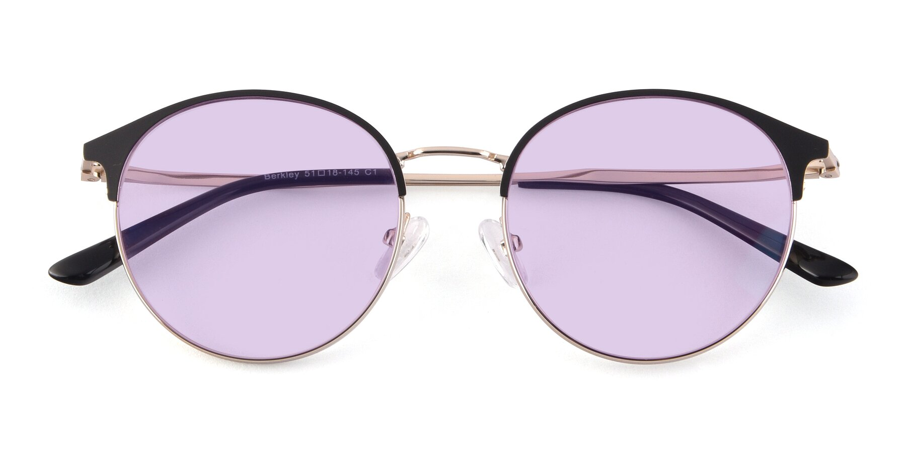 Folded Front of Berkley in Black-Gold with Light Purple Tinted Lenses
