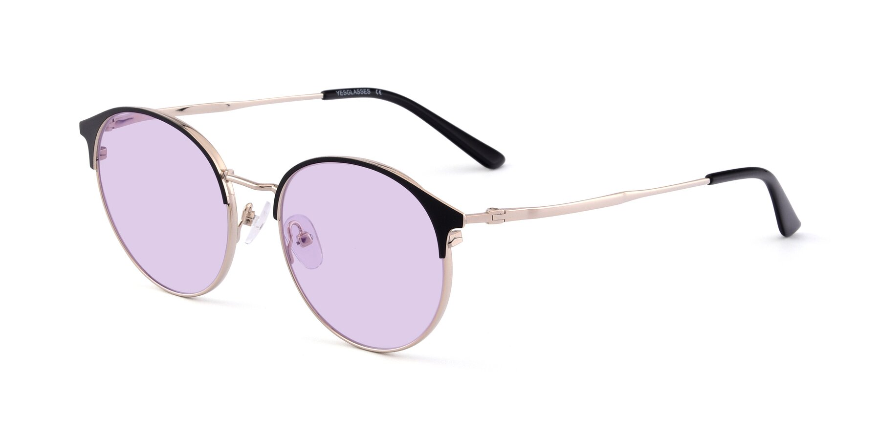 Angle of Berkley in Black-Gold with Light Purple Tinted Lenses