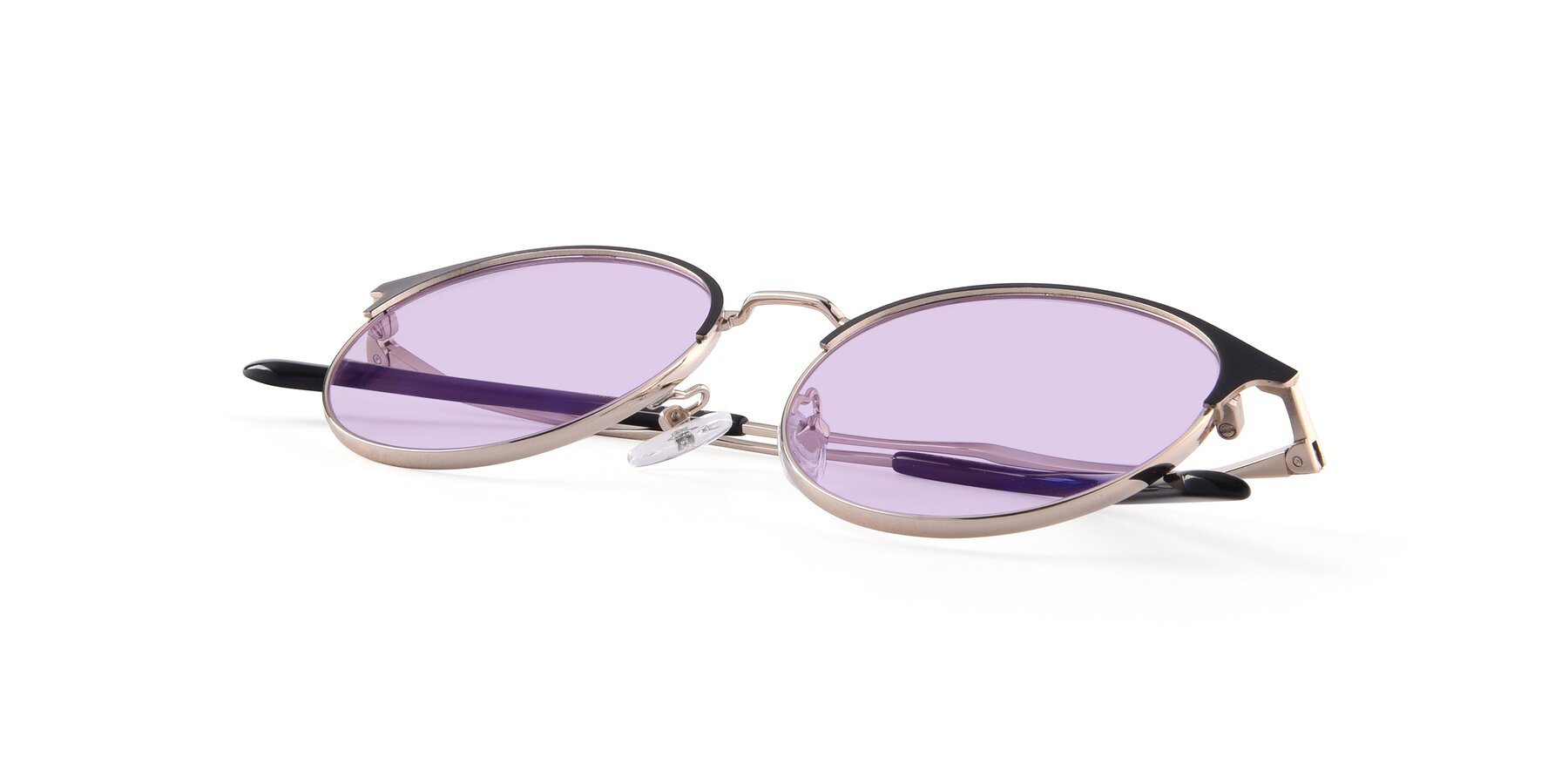 View of Berkley in Black-Gold with Light Purple Tinted Lenses