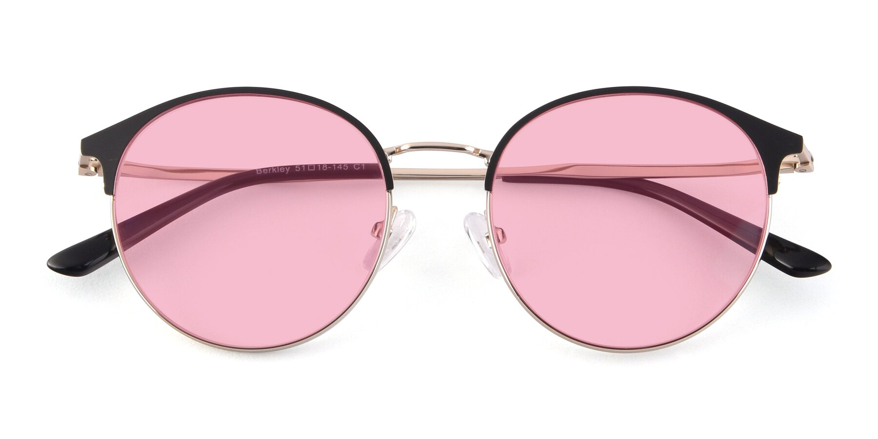 Folded Front of Berkley in Black-Gold with Medium Pink Tinted Lenses