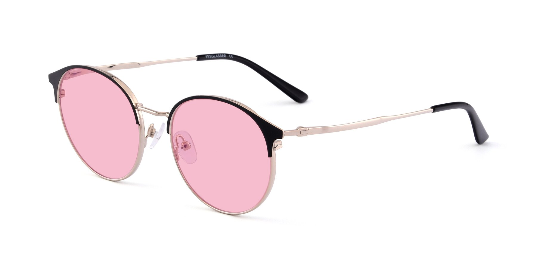 Angle of Berkley in Black-Gold with Medium Pink Tinted Lenses