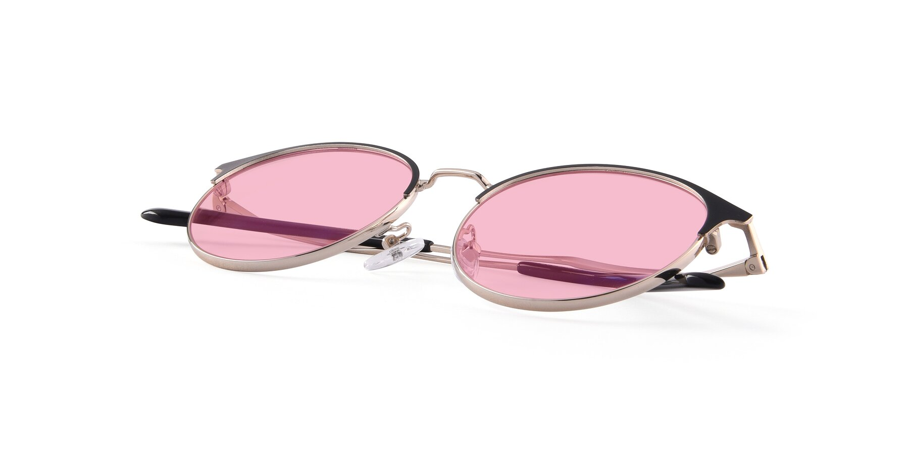View of Berkley in Black-Gold with Medium Pink Tinted Lenses