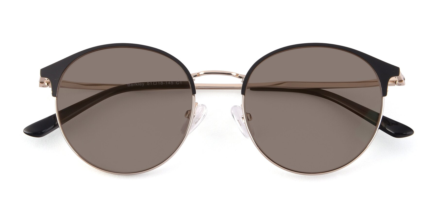 Folded Front of Berkley in Black-Gold with Medium Brown Tinted Lenses