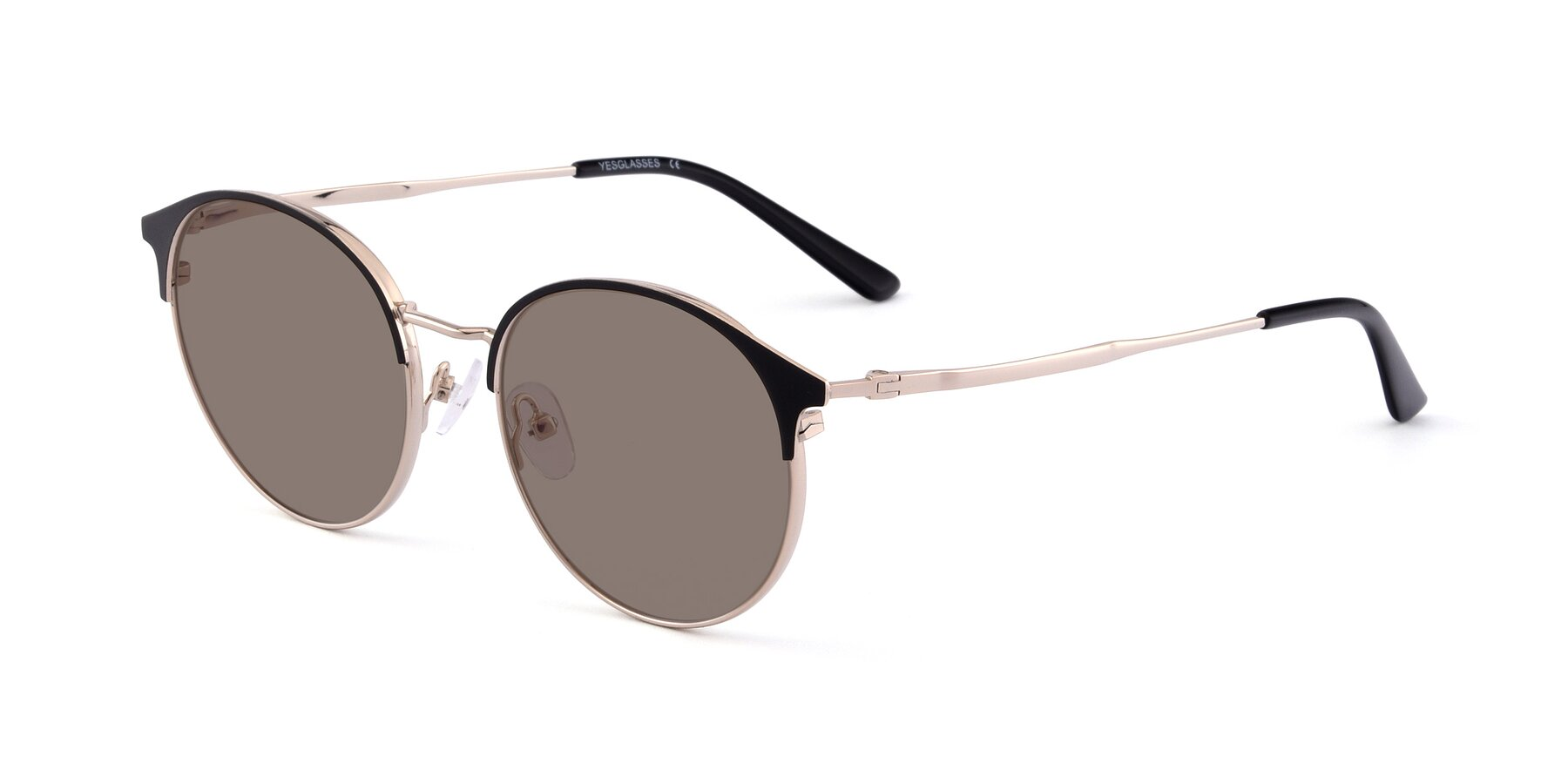 Angle of Berkley in Black-Gold with Medium Brown Tinted Lenses