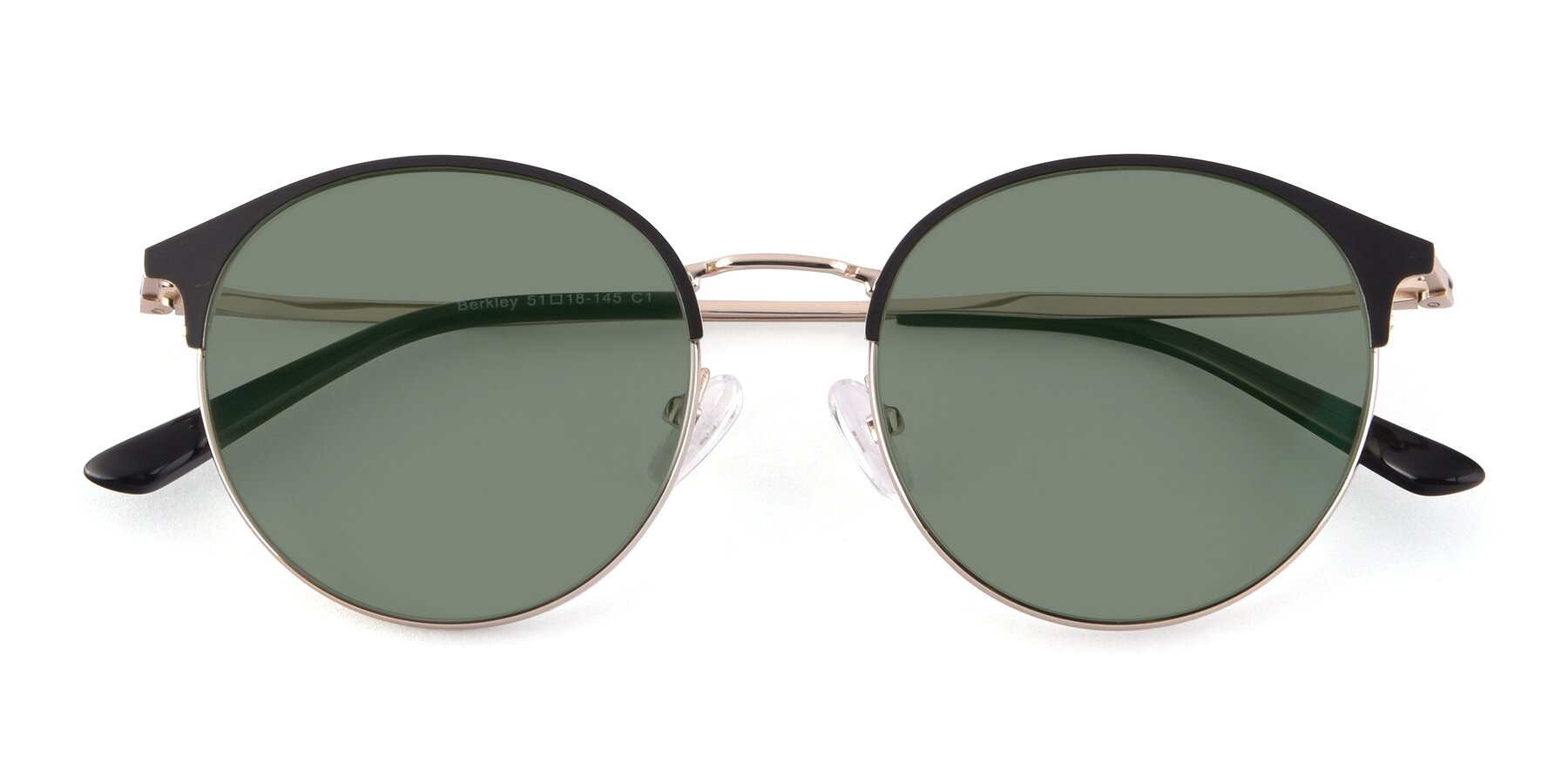 Folded Front of Berkley in Black-Gold with Medium Green Tinted Lenses