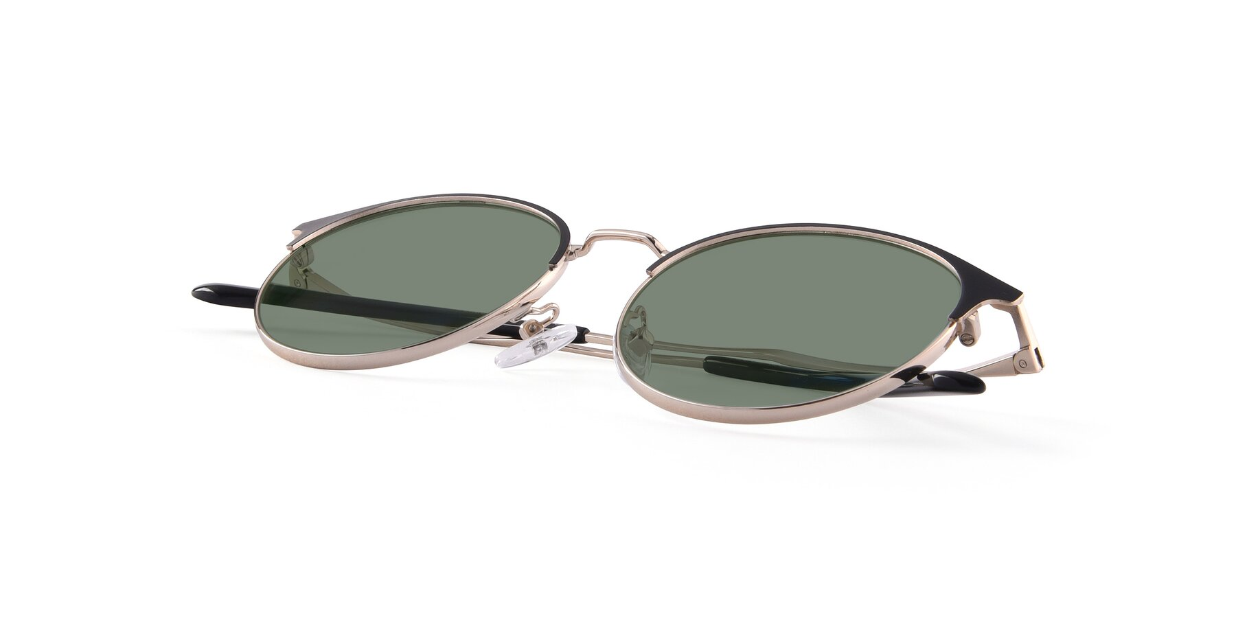 View of Berkley in Black-Gold with Medium Green Tinted Lenses
