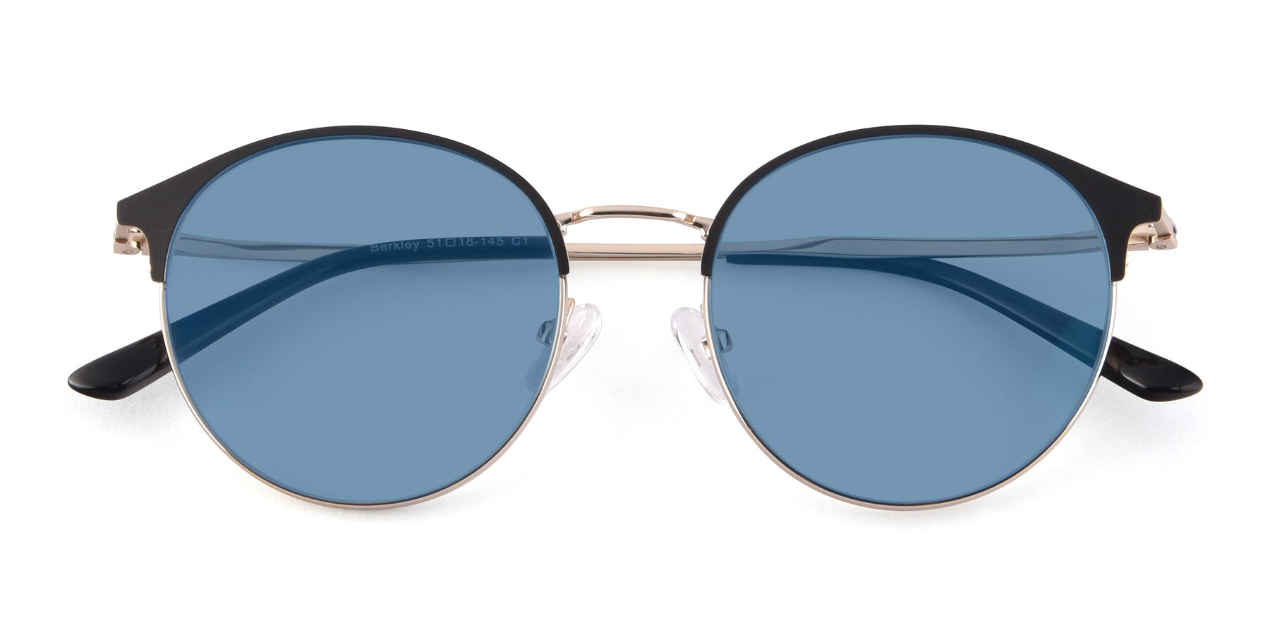 Folded Front of Berkley in Black-Gold with Medium Blue Tinted Lenses