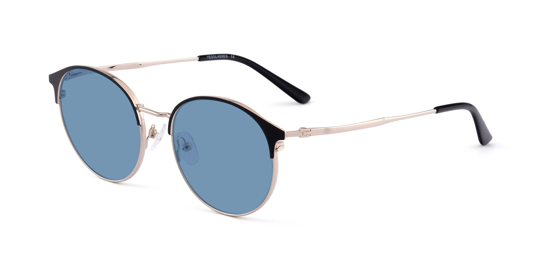 Angle of Berkley in Black-Gold with Medium Blue Tinted Lenses