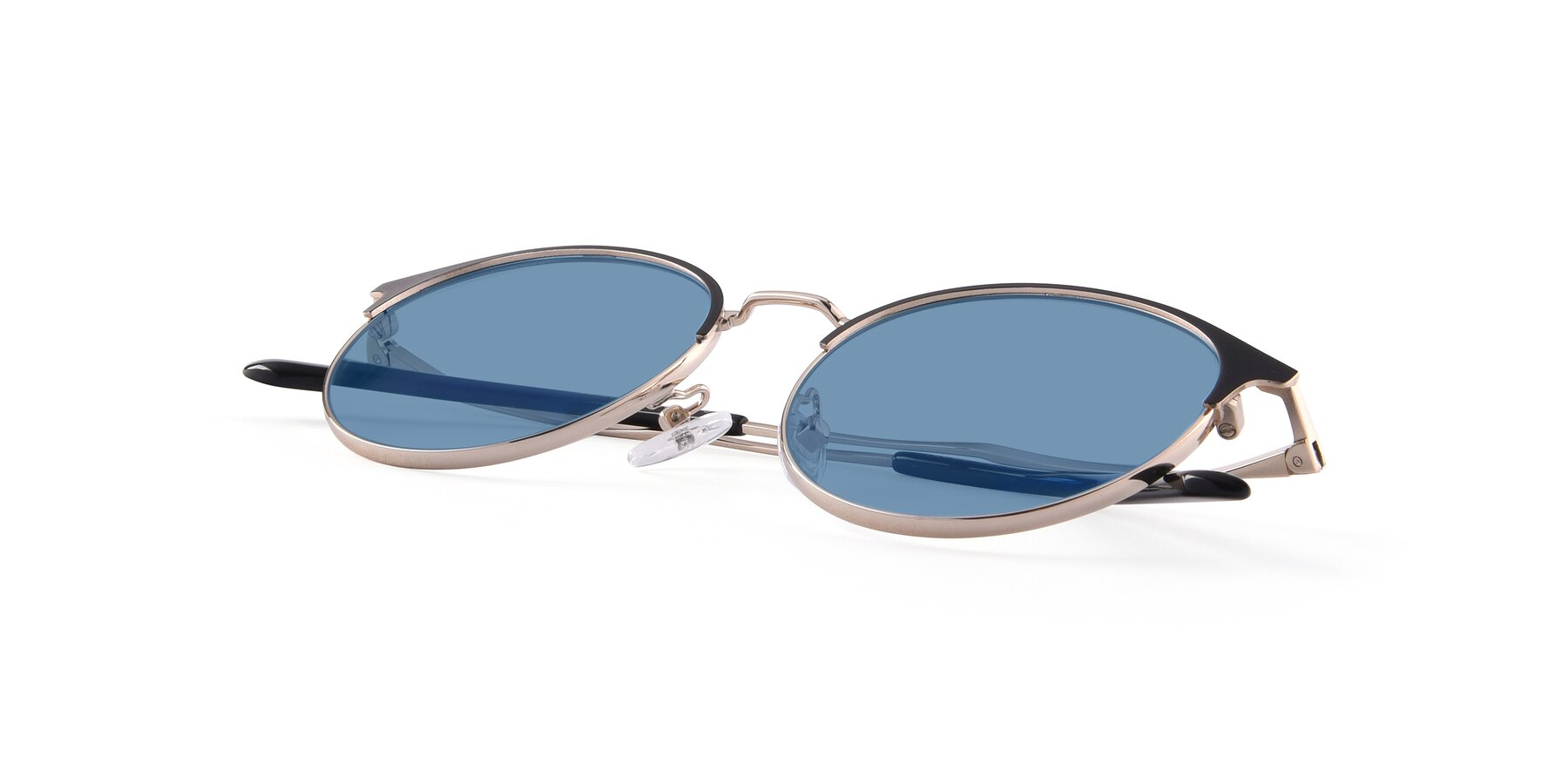 View of Berkley in Black-Gold with Medium Blue Tinted Lenses