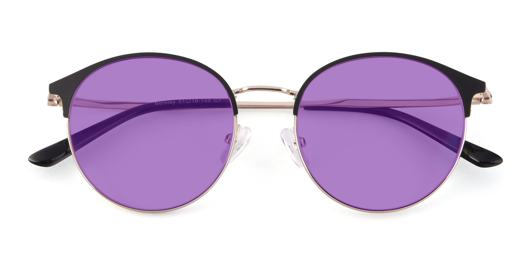 Folded Front of Berkley in Black-Gold with Medium Purple Tinted Lenses