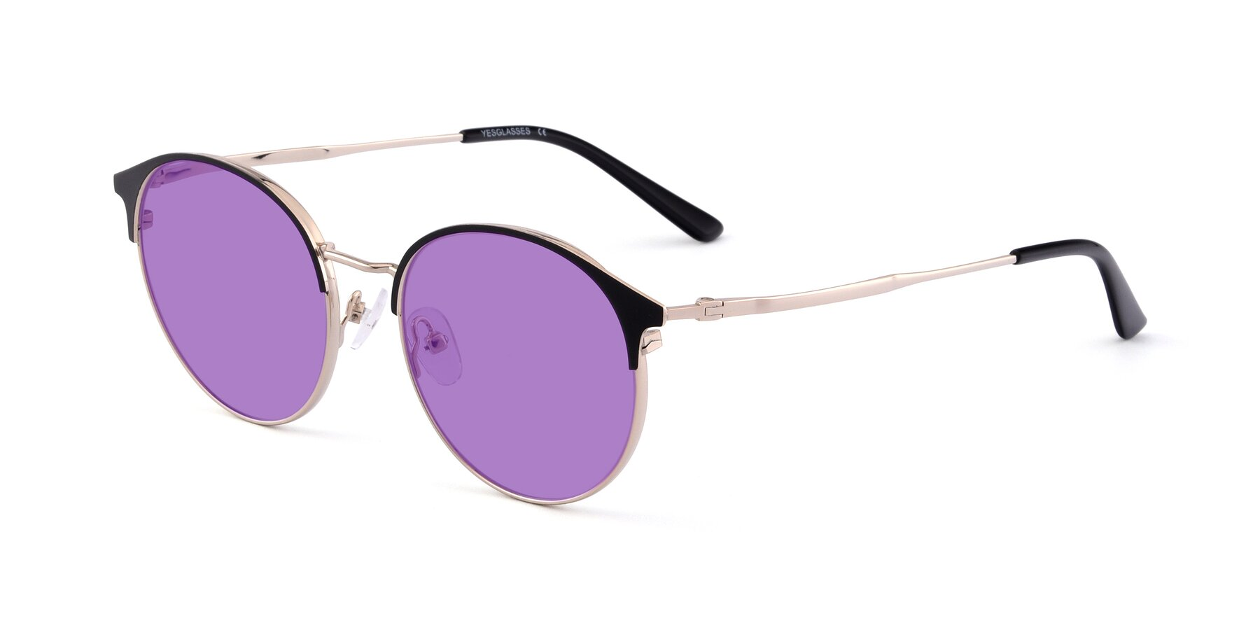 Angle of Berkley in Black-Gold with Medium Purple Tinted Lenses