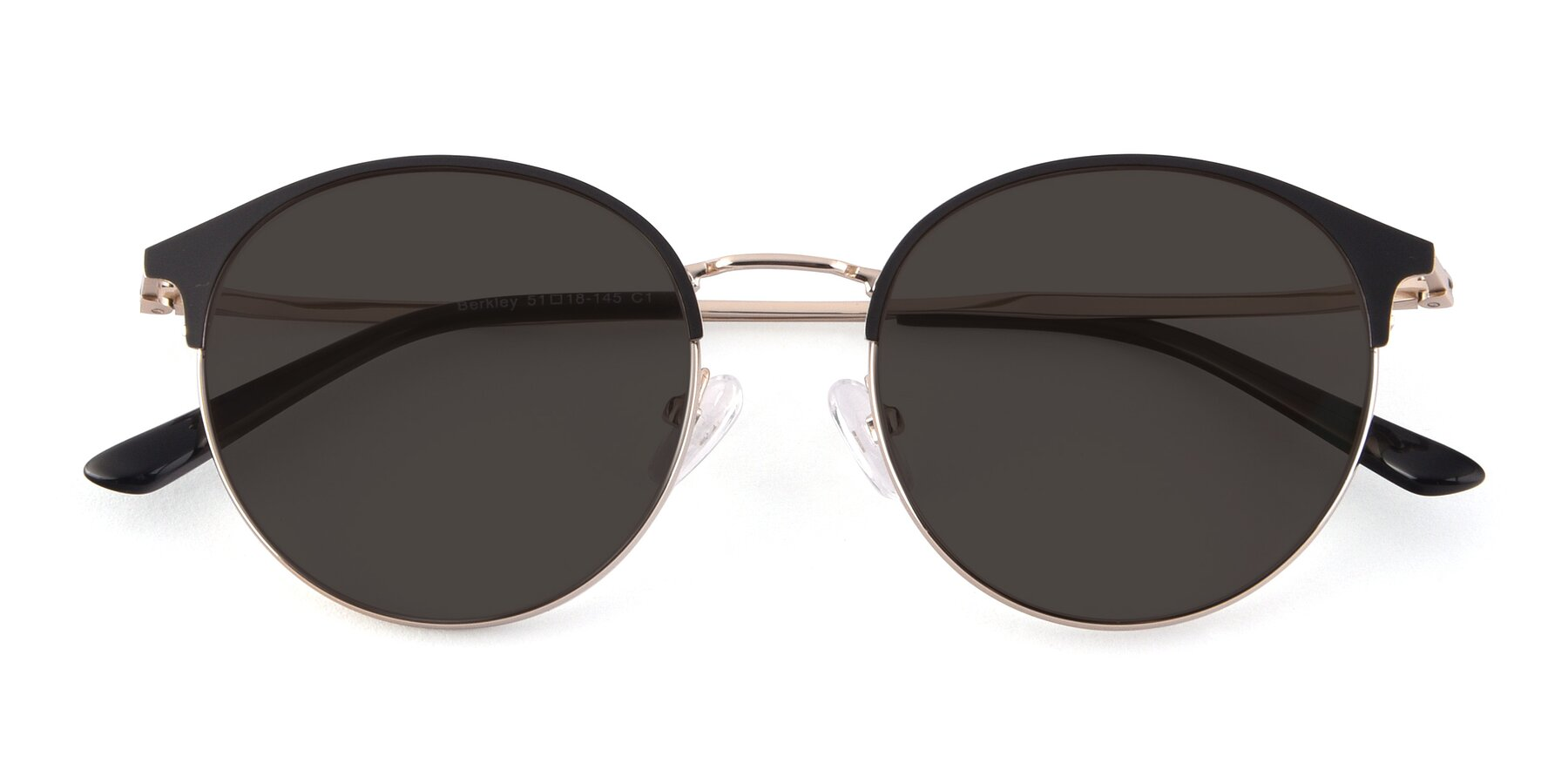 Folded Front of Berkley in Black-Gold with Gray Tinted Lenses