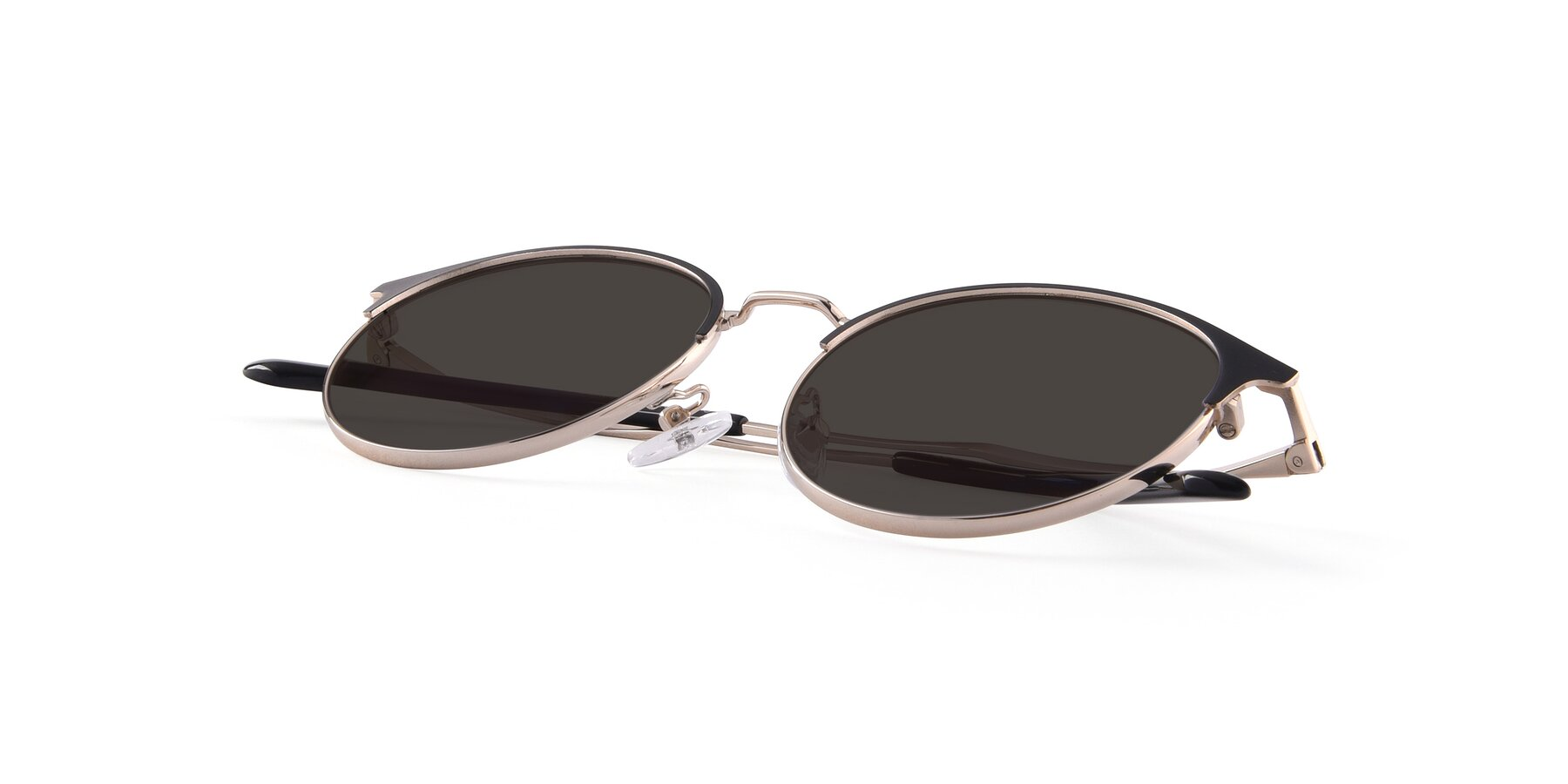 View of Berkley in Black-Gold with Gray Tinted Lenses