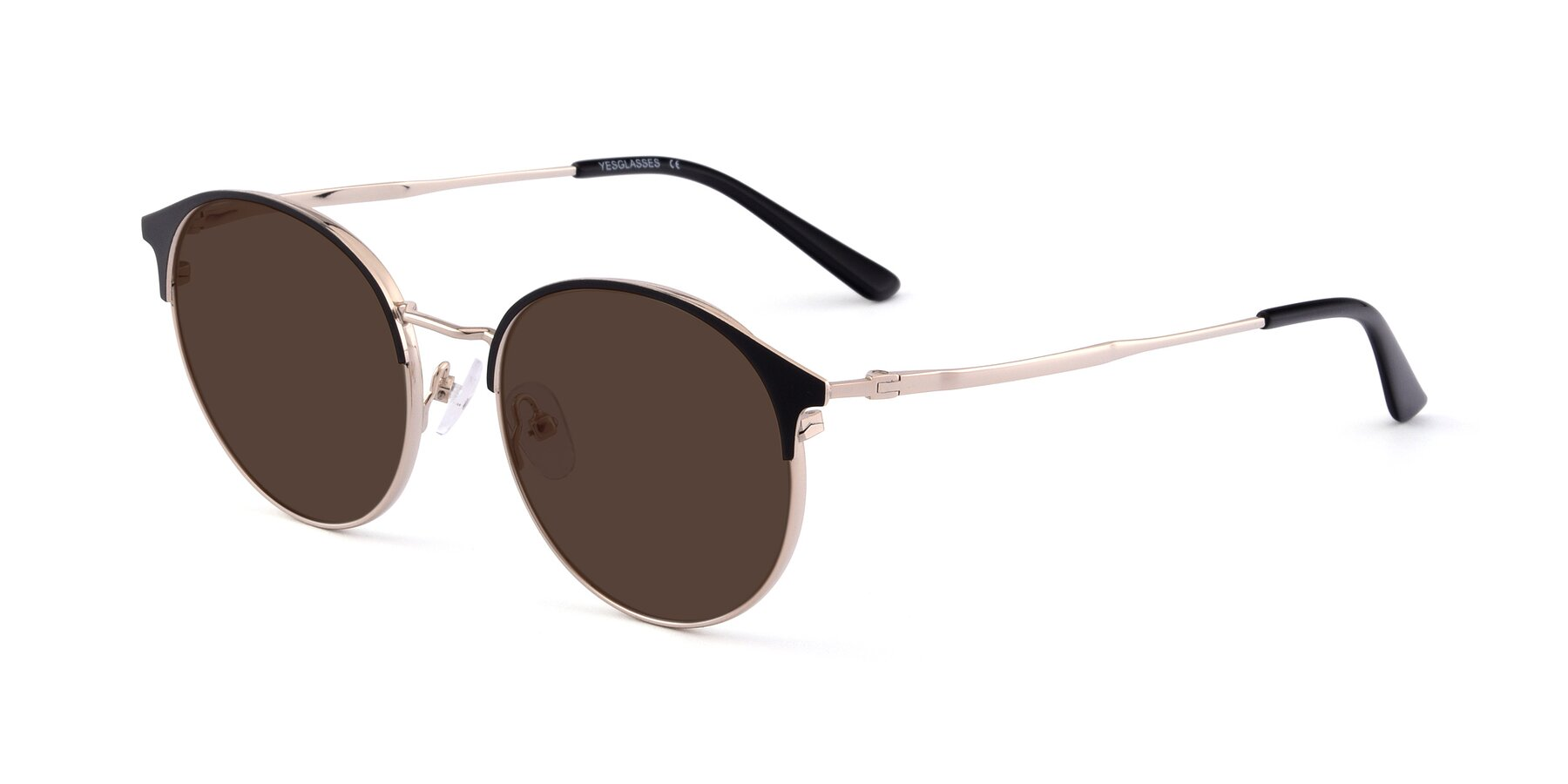Angle of Berkley in Black-Gold with Brown Tinted Lenses