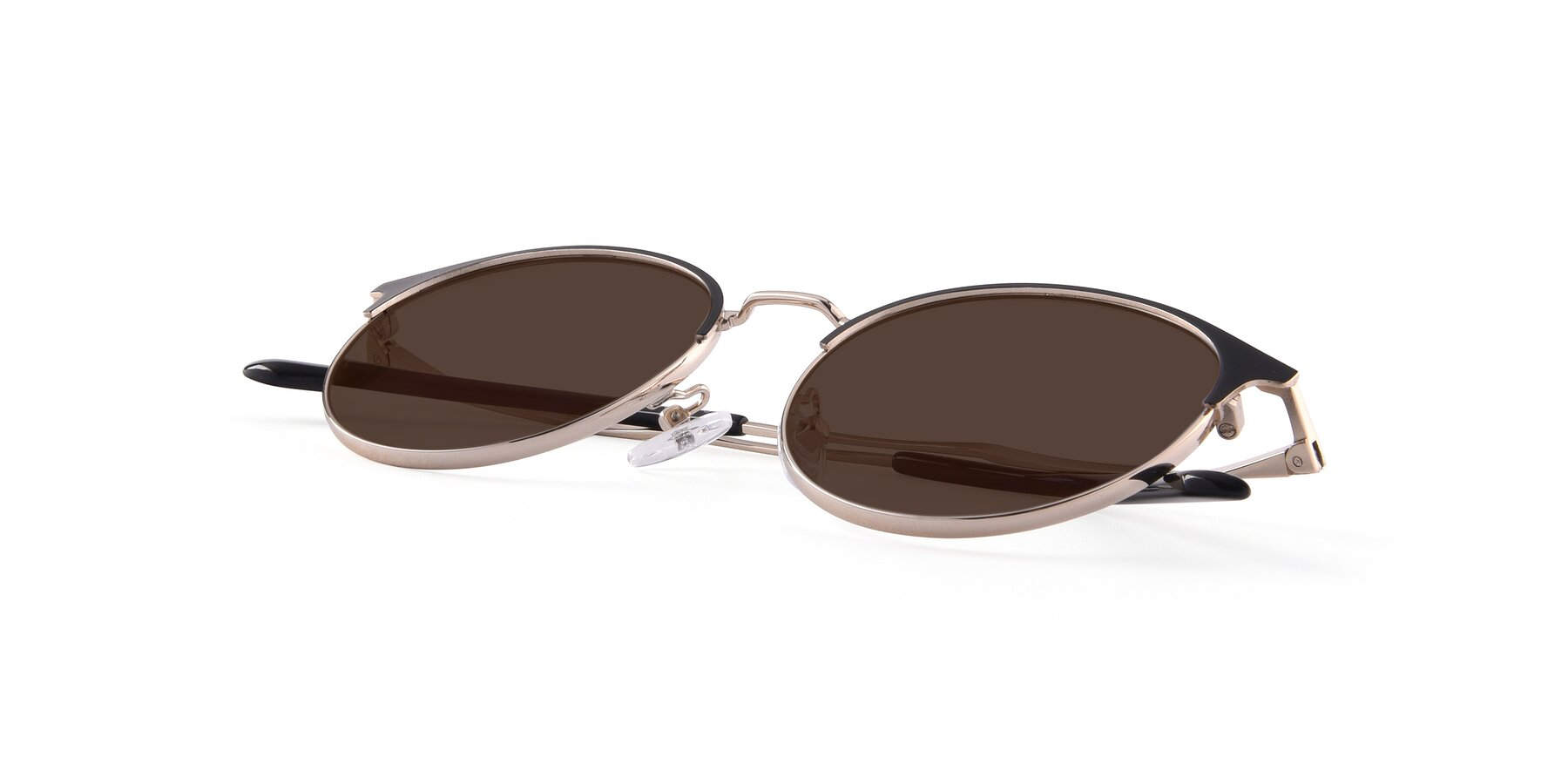 View of Berkley in Black-Gold with Brown Tinted Lenses