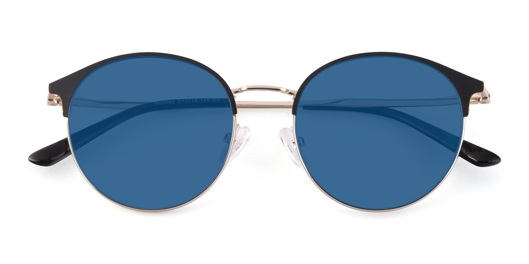 Folded Front of Berkley in Black-Gold with Blue Tinted Lenses