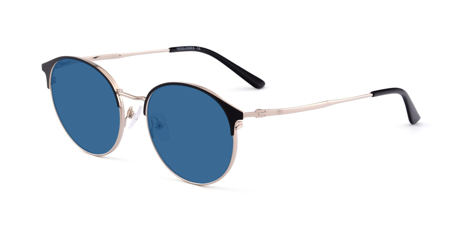 Angle of Berkley in Black-Gold with Blue Tinted Lenses
