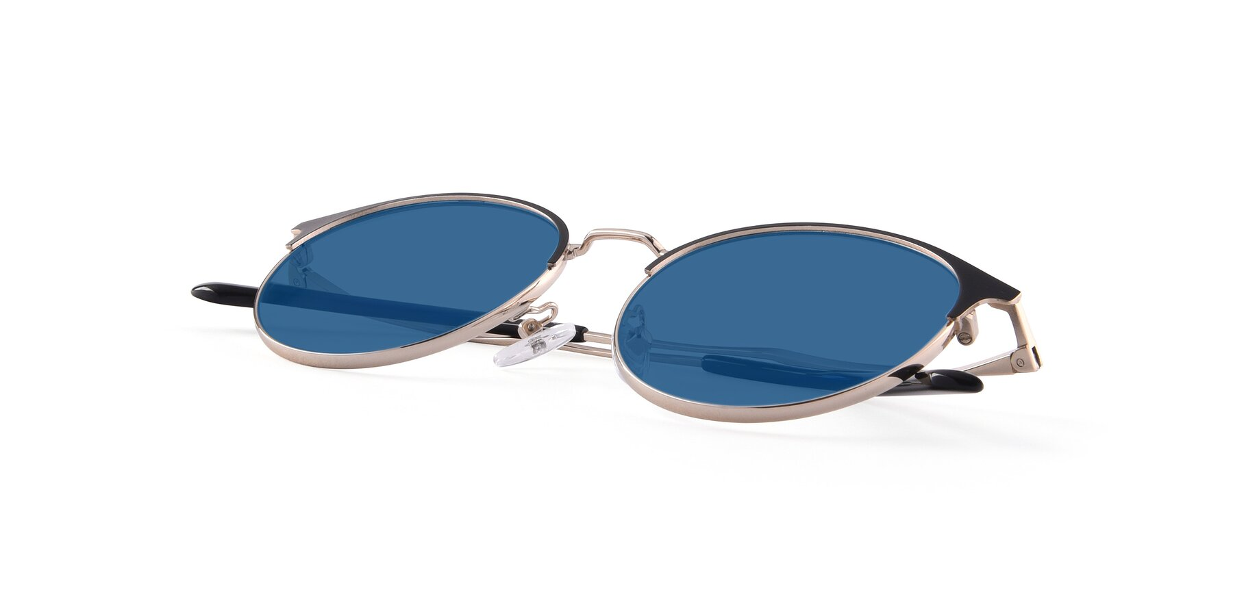 View of Berkley in Black-Gold with Blue Tinted Lenses