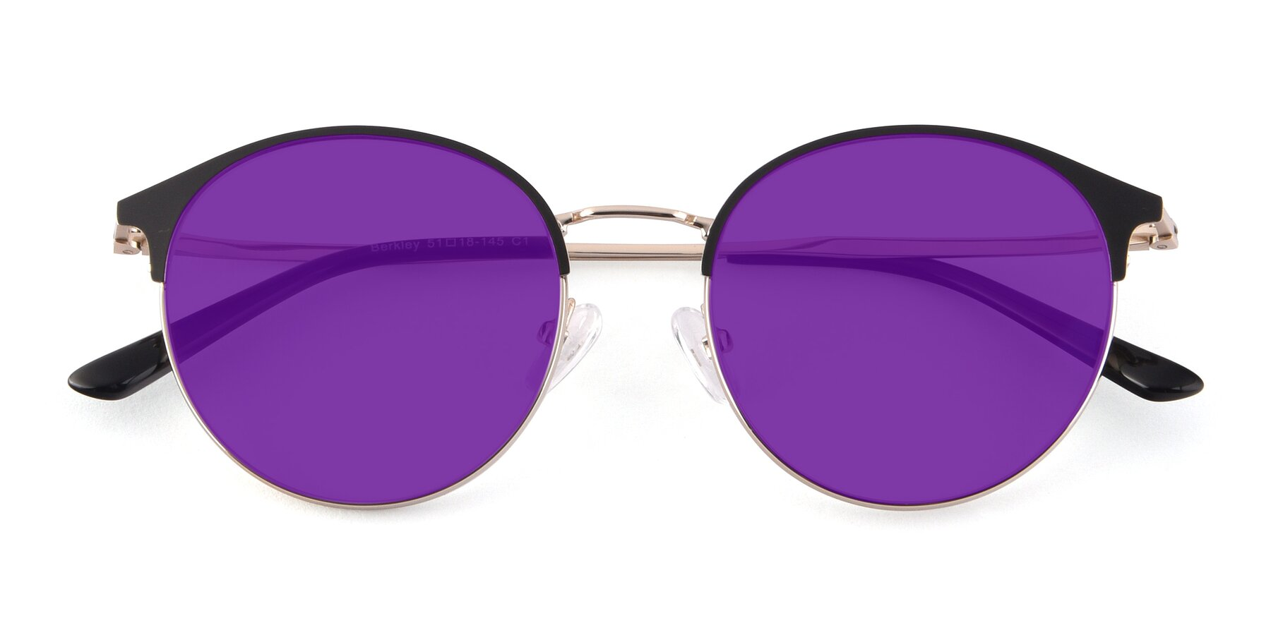 Folded Front of Berkley in Black-Gold with Purple Tinted Lenses