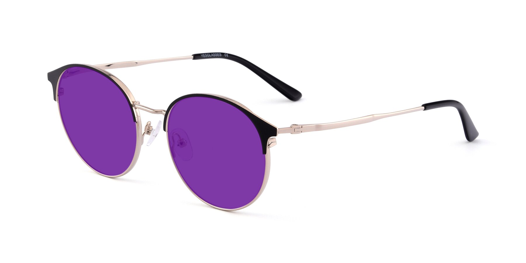 Angle of Berkley in Black-Gold with Purple Tinted Lenses