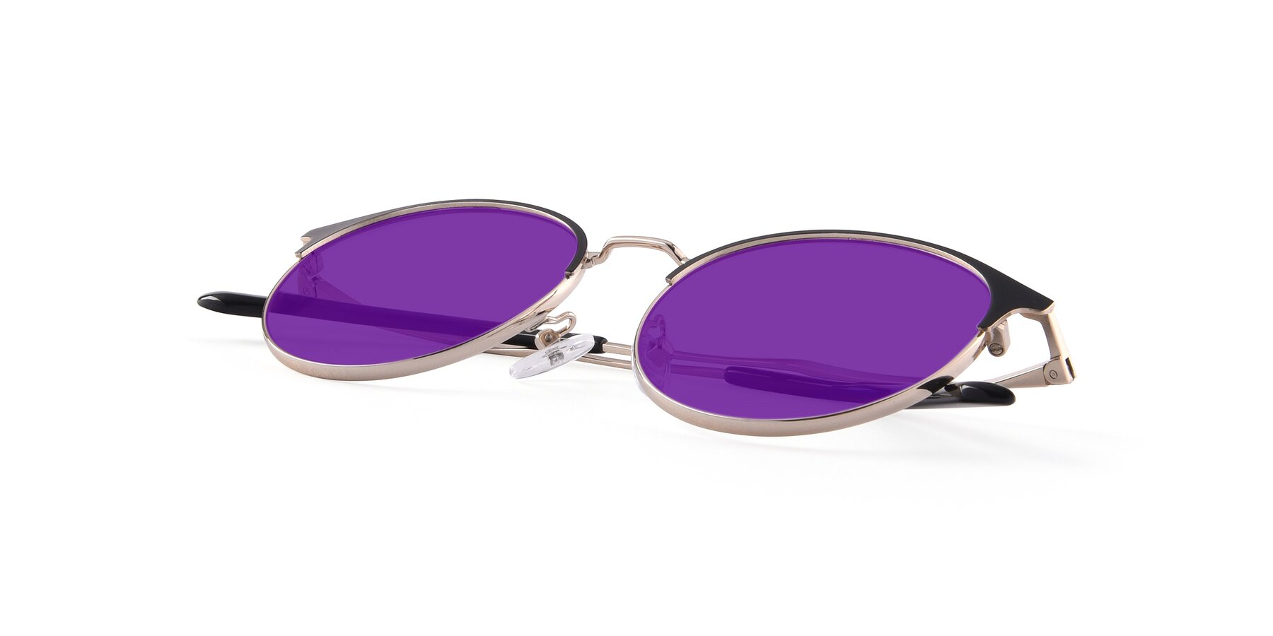 View of Berkley in Black-Gold with Purple Tinted Lenses