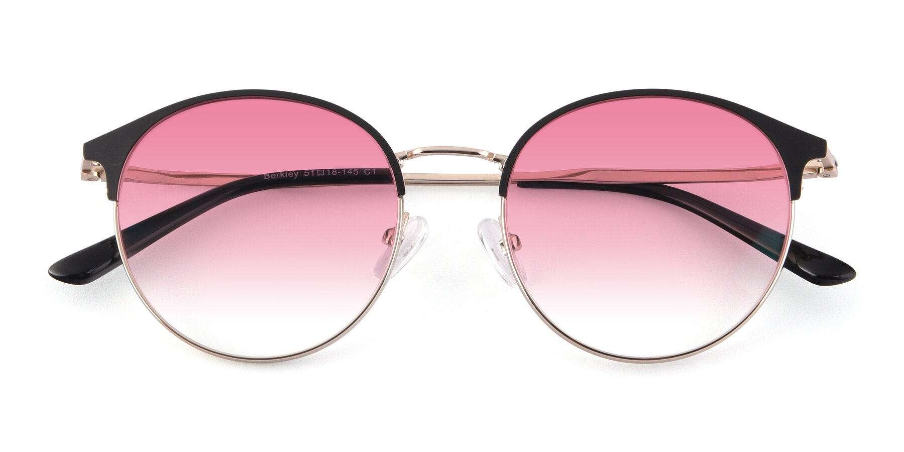 Folded Front of Berkley in Black-Gold with Pink Gradient Lenses