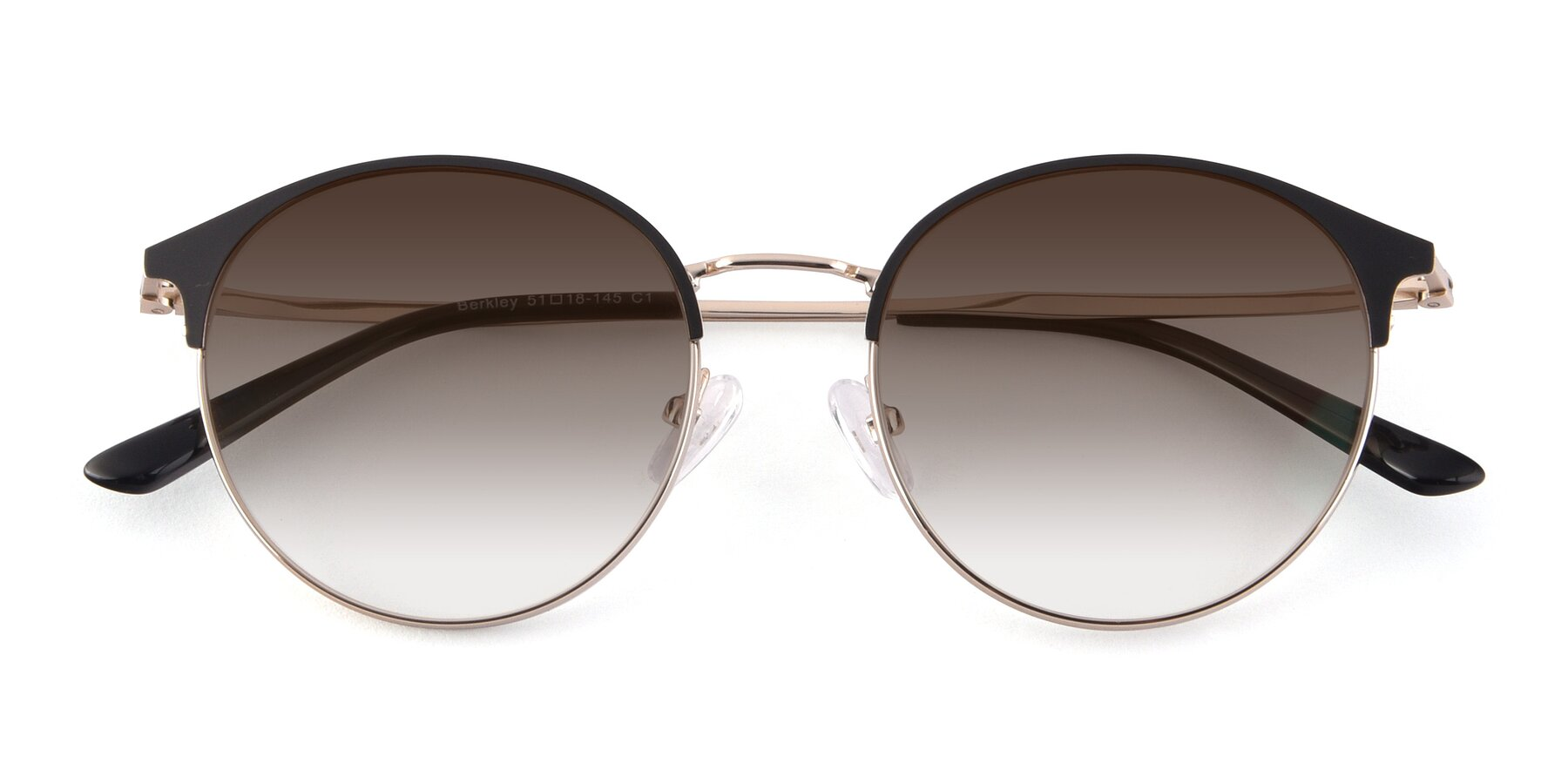 Folded Front of Berkley in Black-Gold with Brown Gradient Lenses