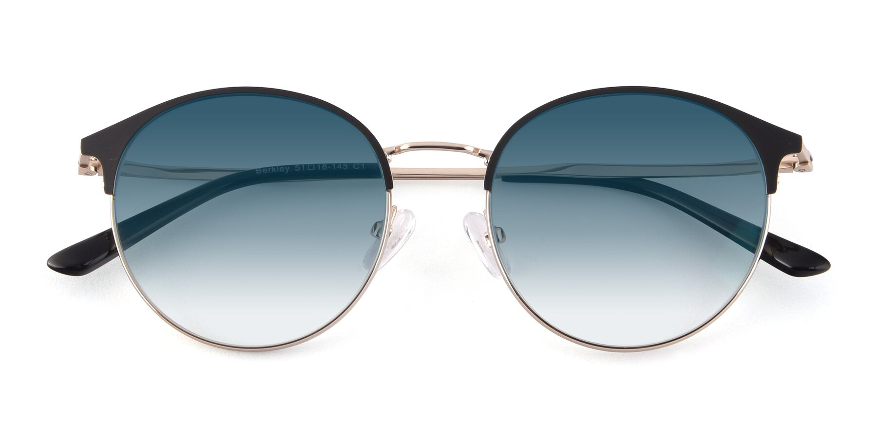 Folded Front of Berkley in Black-Gold with Blue Gradient Lenses
