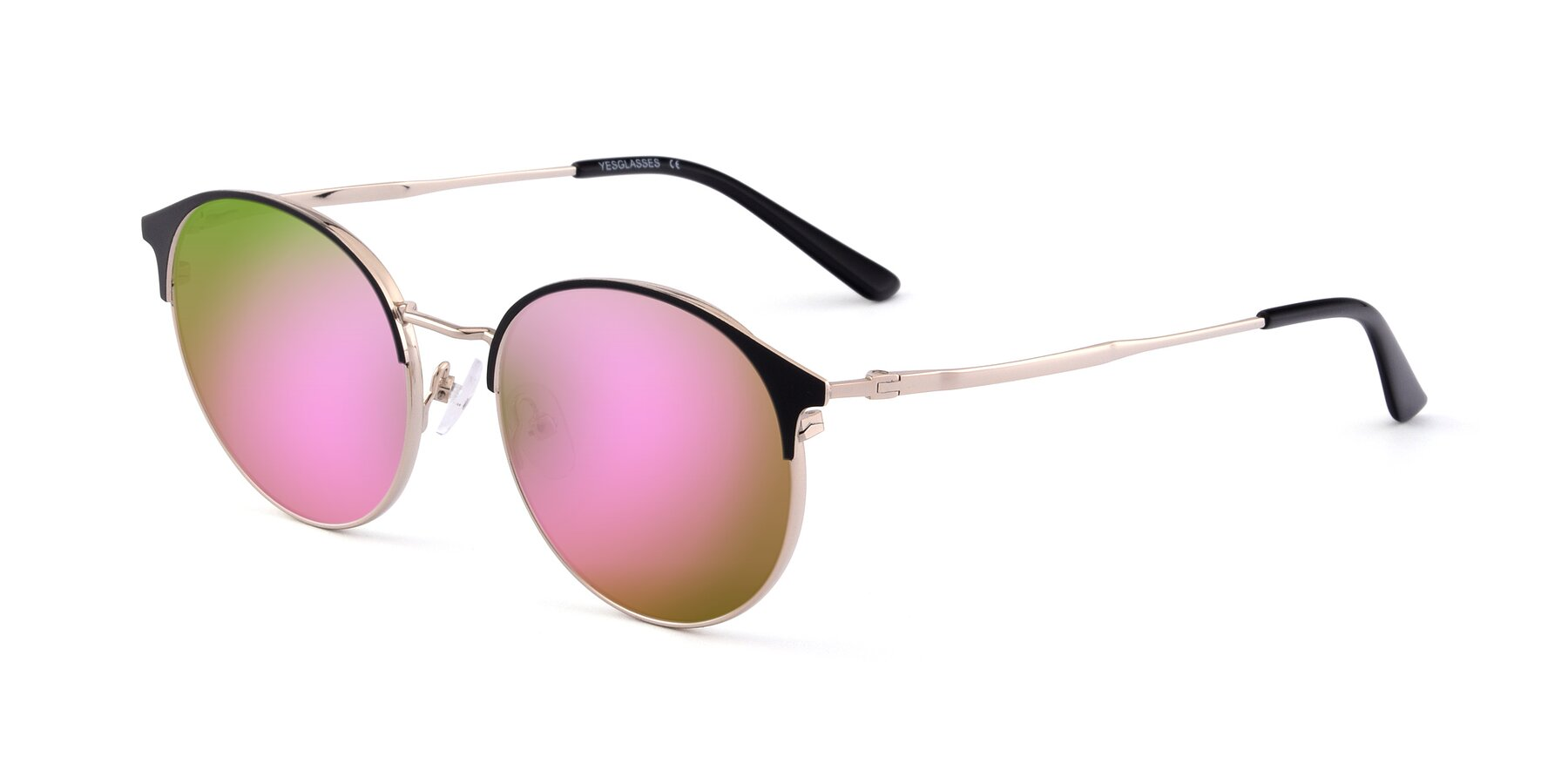 Angle of Berkley in Black-Gold with Pink Mirrored Lenses