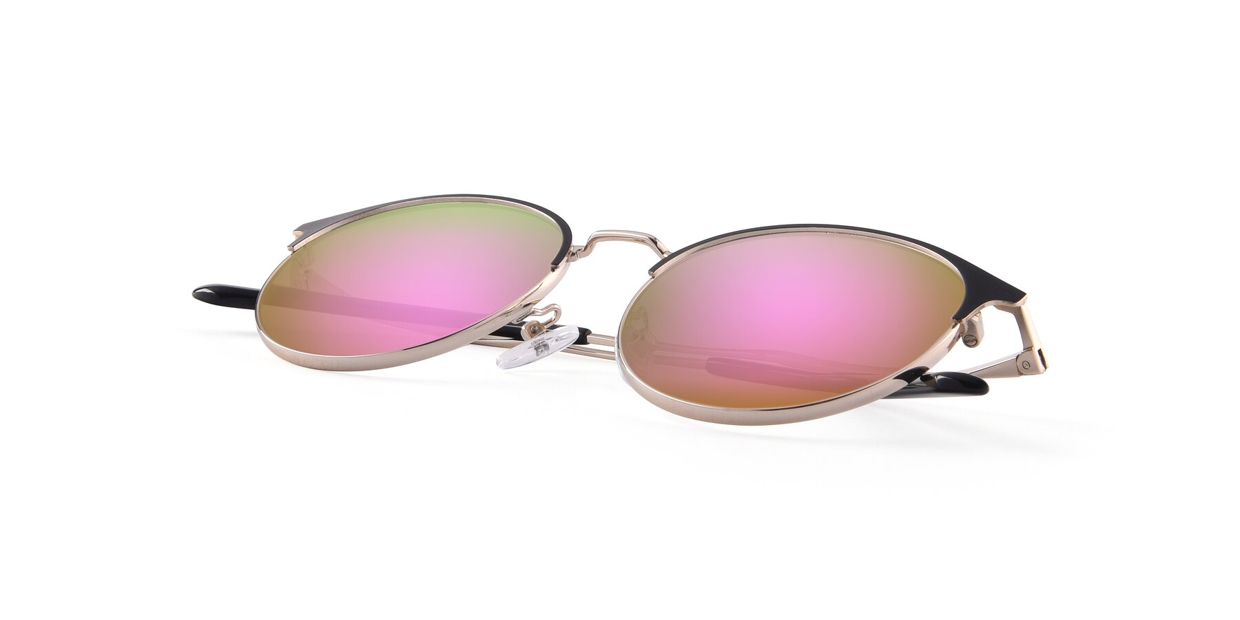 View of Berkley in Black-Gold with Pink Mirrored Lenses