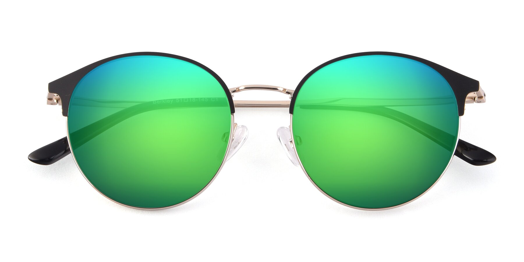 Folded Front of Berkley in Black-Gold with Green Mirrored Lenses