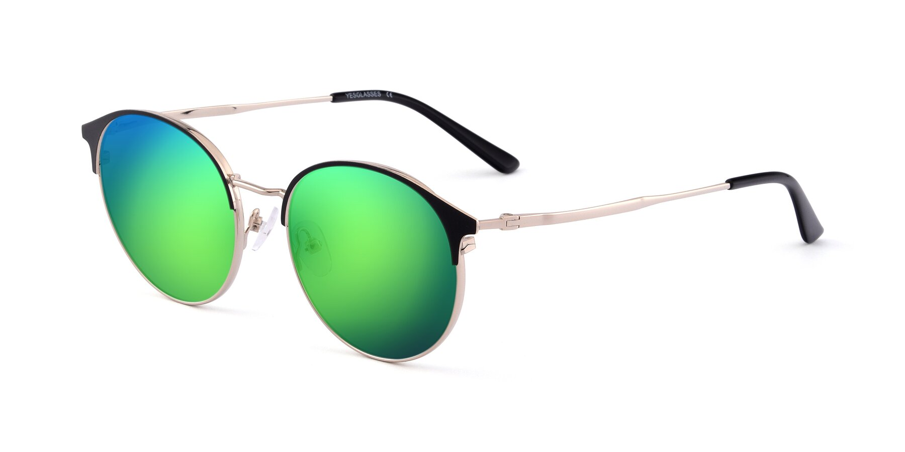 Angle of Berkley in Black-Gold with Green Mirrored Lenses
