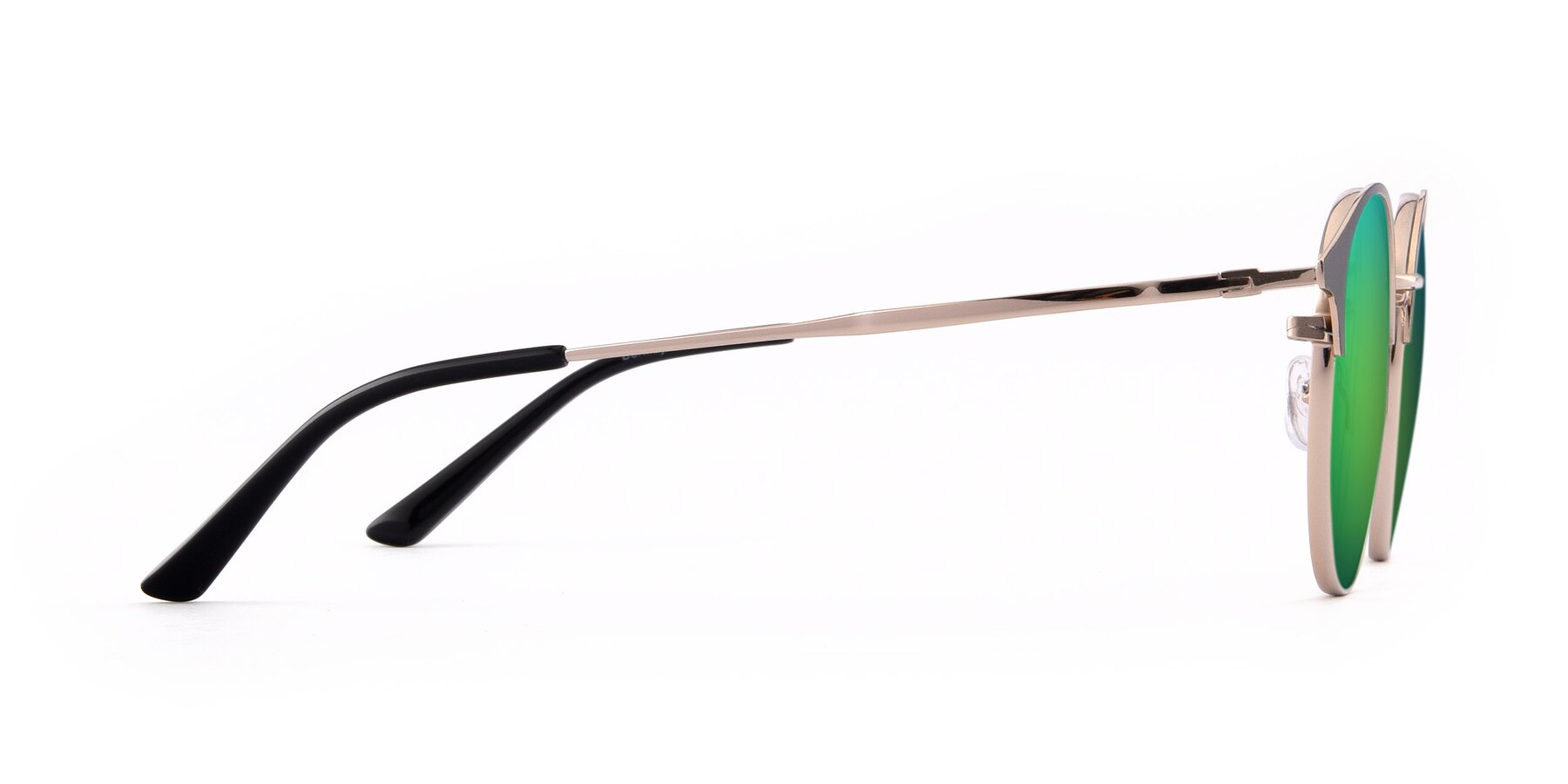 Side of Berkley in Black-Gold with Green Mirrored Lenses