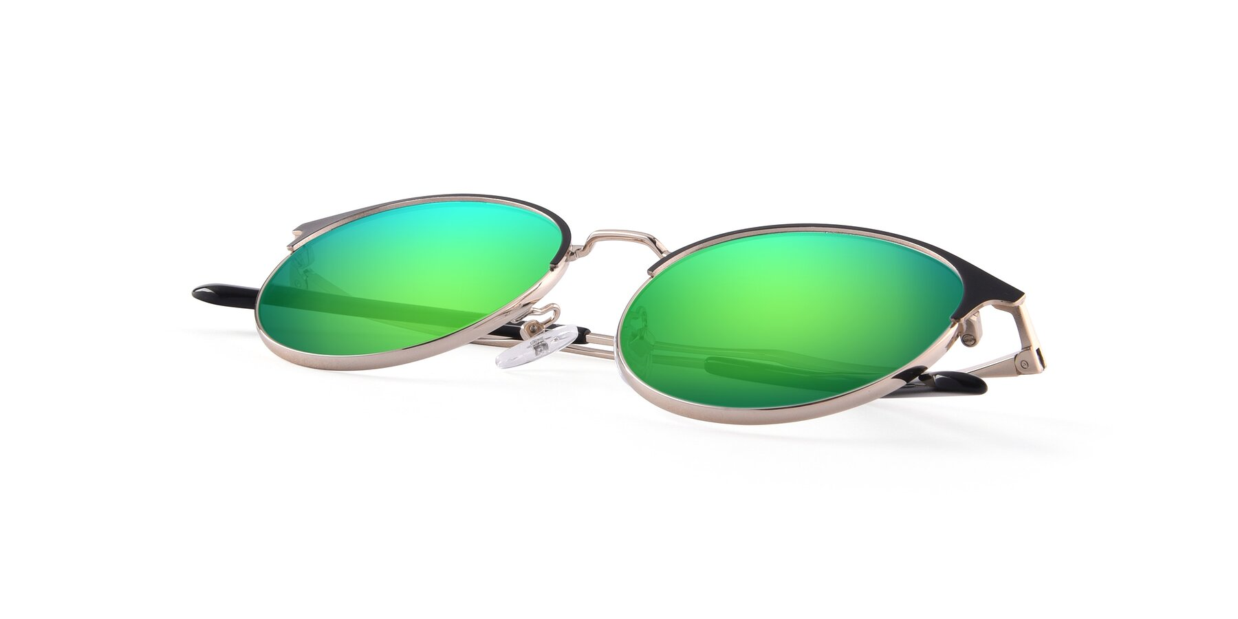 View of Berkley in Black-Gold with Green Mirrored Lenses