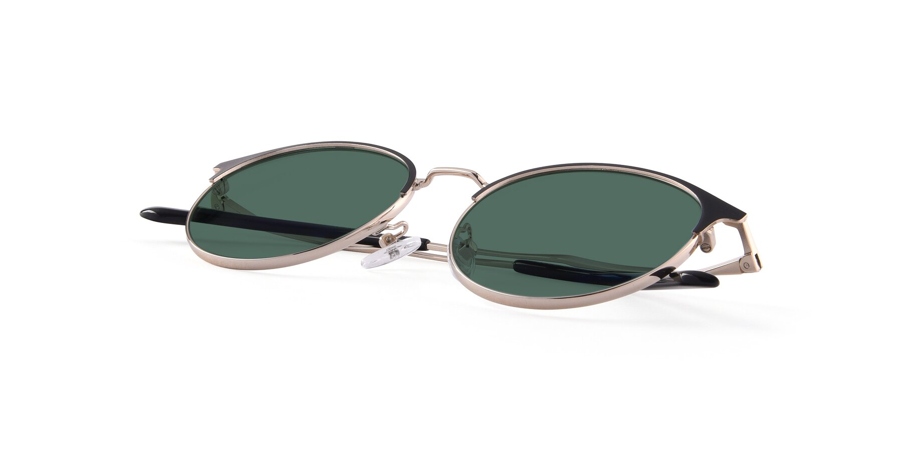 View of Berkley in Black-Gold with Green Polarized Lenses