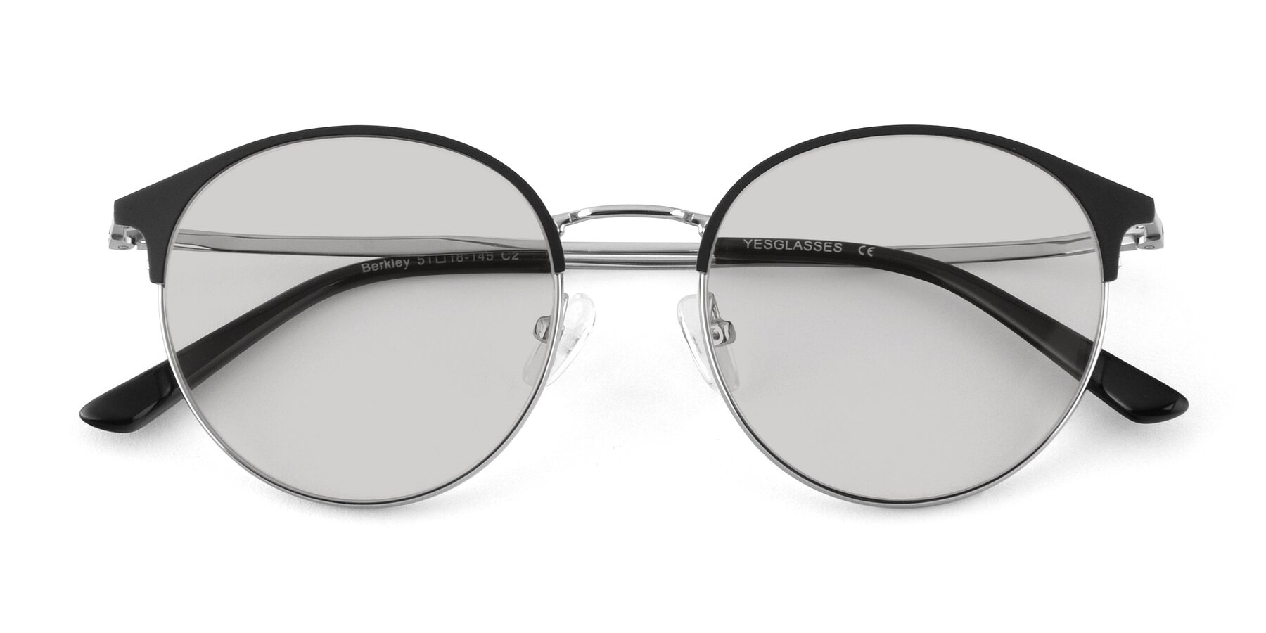 Folded Front of Berkley in Black-Silver with Light Gray Tinted Lenses