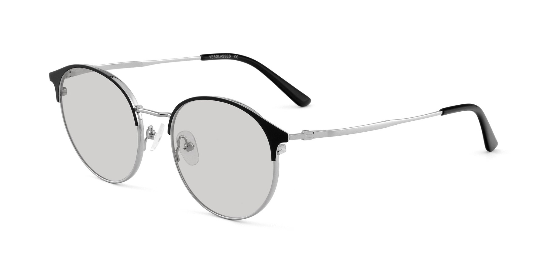 Angle of Berkley in Black-Silver with Light Gray Tinted Lenses