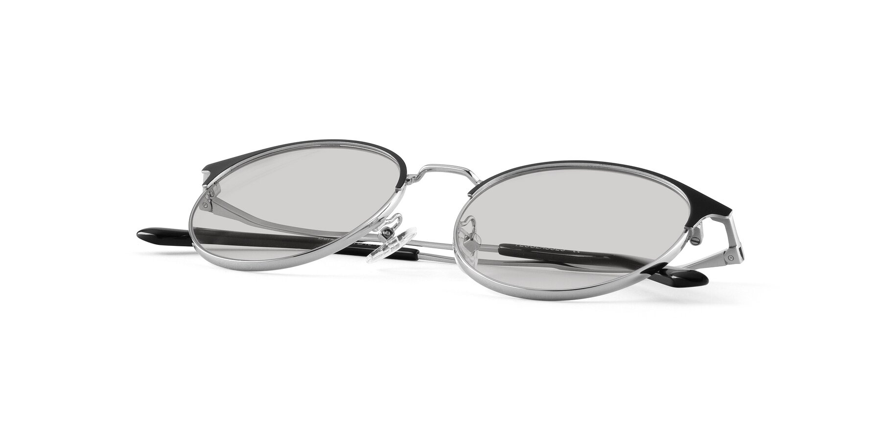 View of Berkley in Black-Silver with Light Gray Tinted Lenses