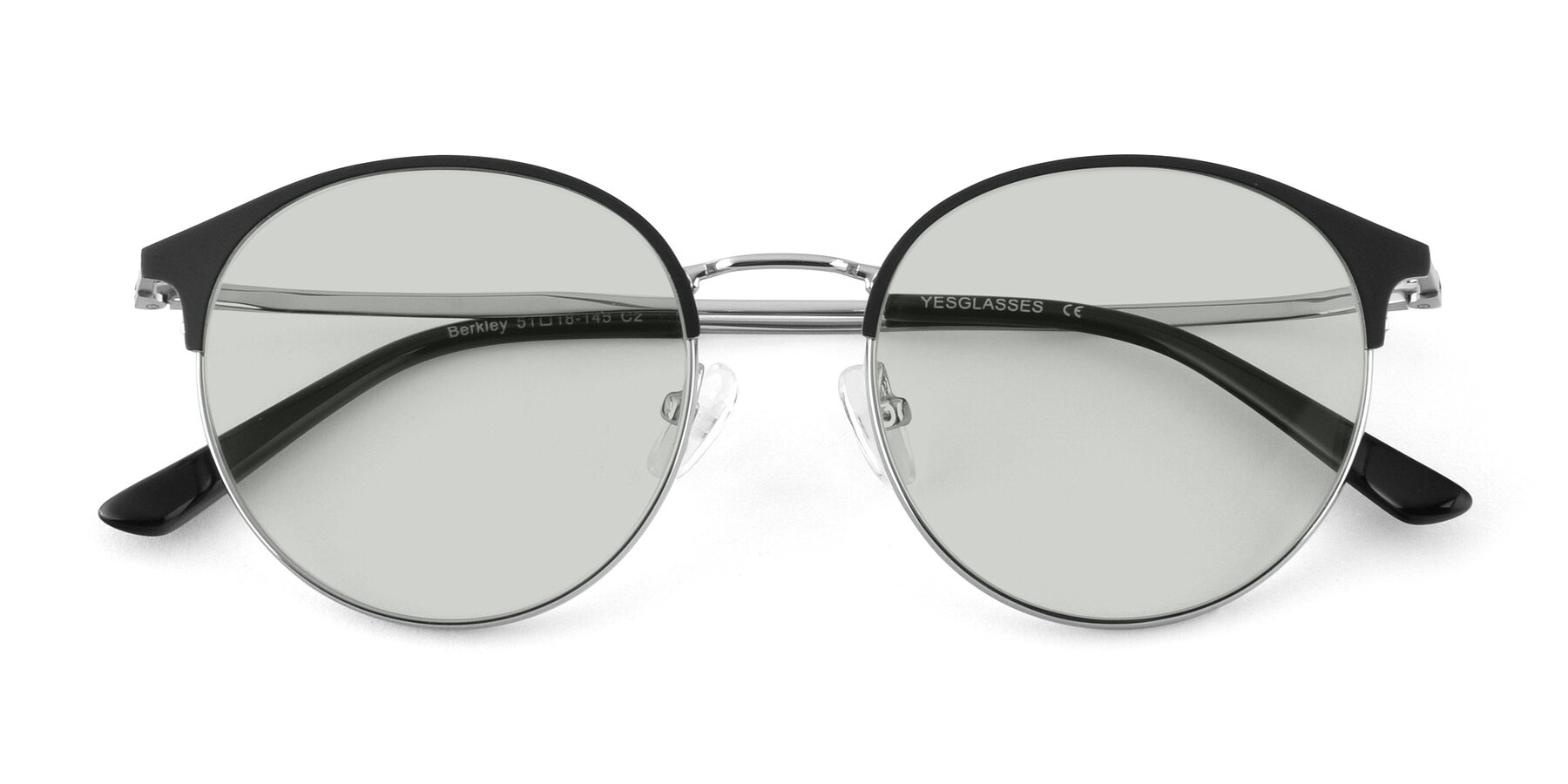 Folded Front of Berkley in Black-Silver with Light Green Tinted Lenses