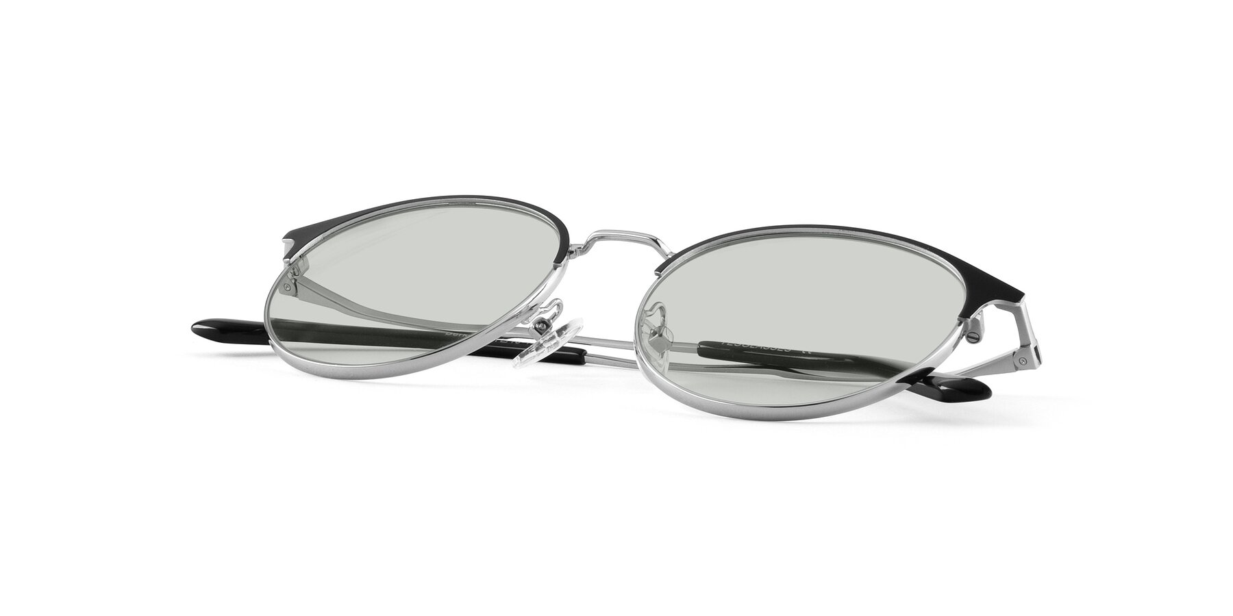 View of Berkley in Black-Sliver with Light Green Tinted Lenses