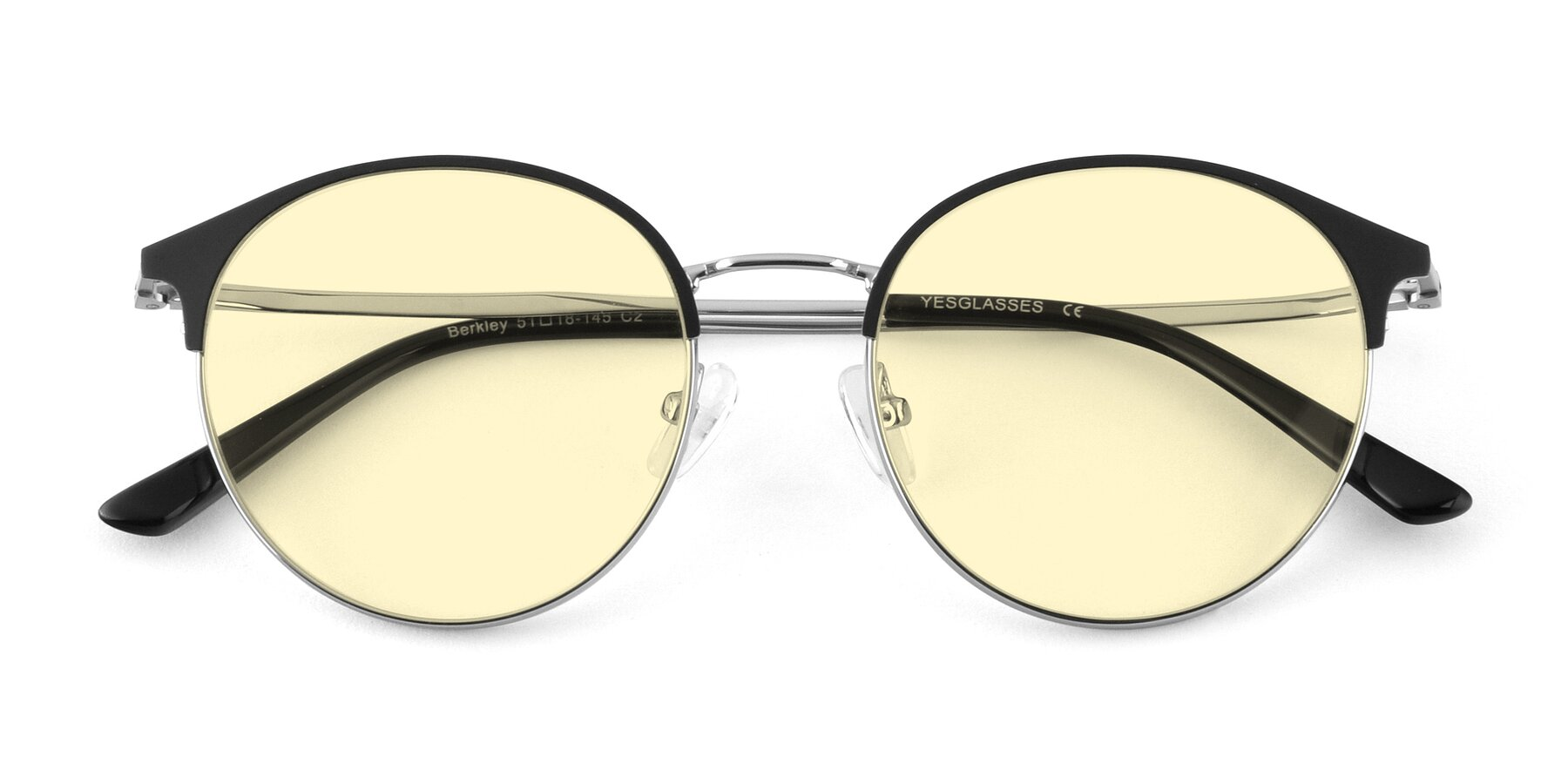 Folded Front of Berkley in Black-Silver with Light Yellow Tinted Lenses