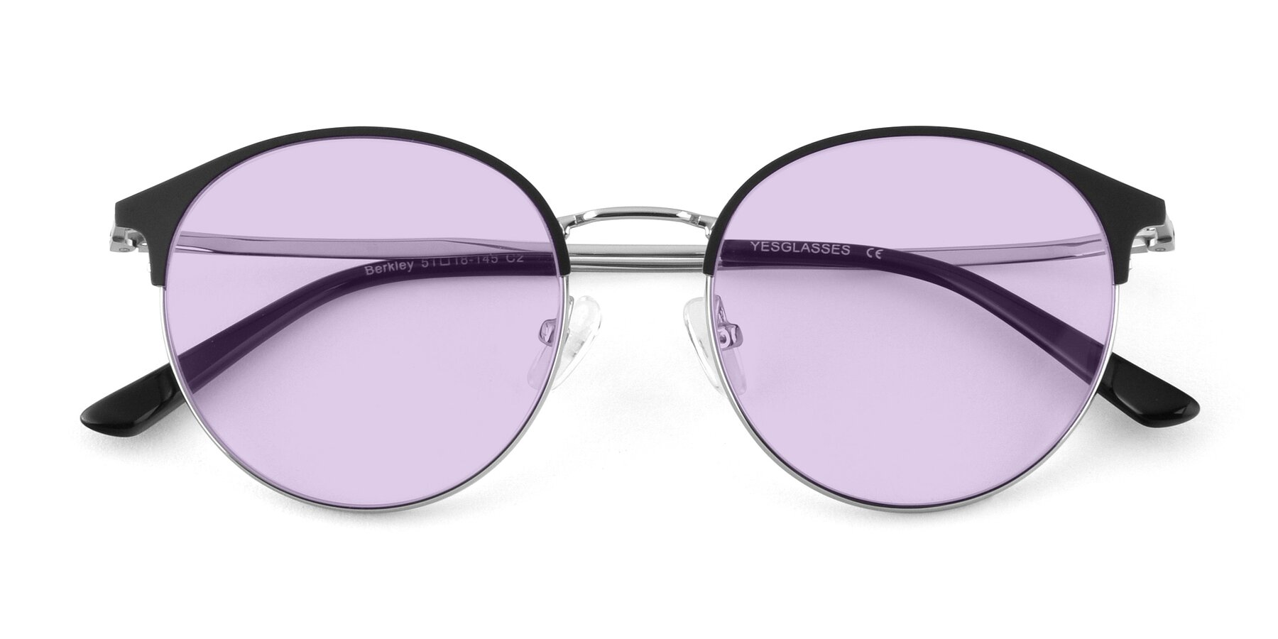 Folded Front of Berkley in Black-Silver with Light Purple Tinted Lenses
