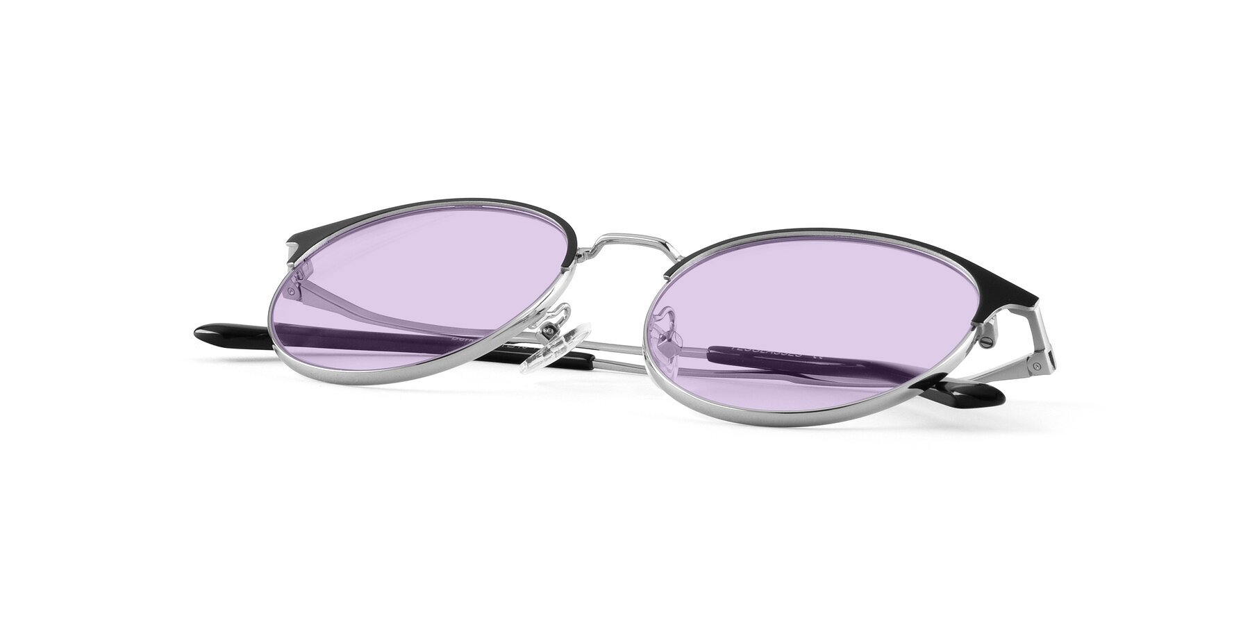 View of Berkley in Black-Silver with Light Purple Tinted Lenses